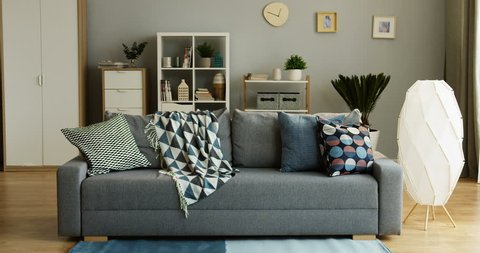 Interior of the cozy modern living room: gray sofa with pillows and a plaid and shelves with home stuff. Indoor