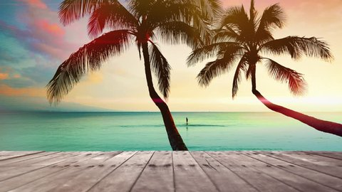 Tropical Beach Wooden Pier, Twin Palm Tree and Sea and Sand Ocean Vacation, Beautiful Background Landscape