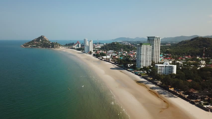 Ariel view Seascape of Khao Takiab Beach with Khao Takiab mountain at Hua Hin in Prachuap Khiri Khan Province, Thailand
