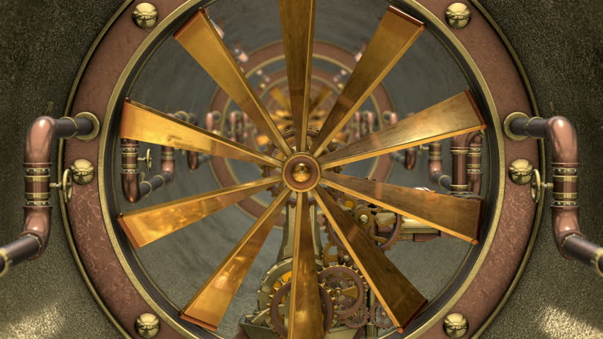 Inside 3D STEAMPUNK TUNNEL VENTILATION SYSTEM. Ideal 4K animation for Science fiction movies, TV shows, intro, news, commercials, retro, fantasy, steampunk related projects etc. Includes ALPHA MATTE