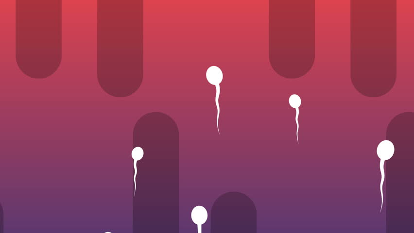 A cheery 3d rendering of moving vertically white spermatozoids with waving tails covering the light violet and purple background with oval black tubes. All of them look enthusiastic.