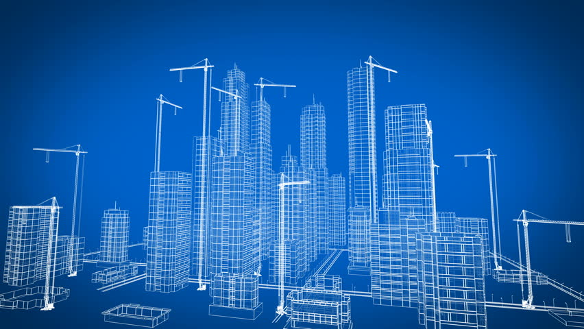 Beautiful 3d Blueprint of Contemporary Buildings with Cranes. Flying Over Growing City. Blue color 3d animation. Construction Business and Technology Concept.