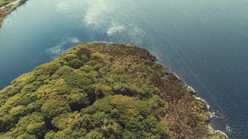 Aerial footage of Connemara area with top view of small island, co.Galway  Ireland, 4K | Shutterstock HD Video #1011767642