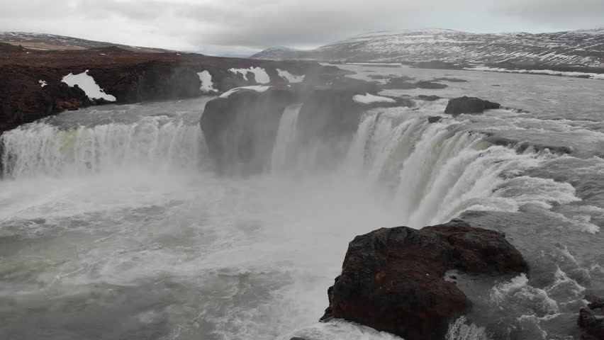 Amazing Godafoss Waterfall taken with drone, Iceland | Shutterstock HD Video #1011769442