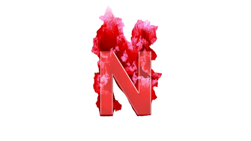 latin letter N burns dark fire on a white background. Alpha channel Premultiplied - Matted with color white