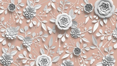 3d rendering, looped animation, floral background, rotating white paper flowers, botanical pattern, paper craft, pastel nude pink color, 4k animation