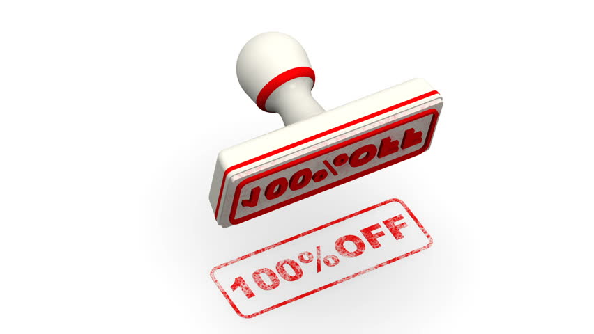 100 percentage off. The stamp leaves a red imprint 100%OFF on white surface. Footage video | Shutterstock HD Video #1011907592