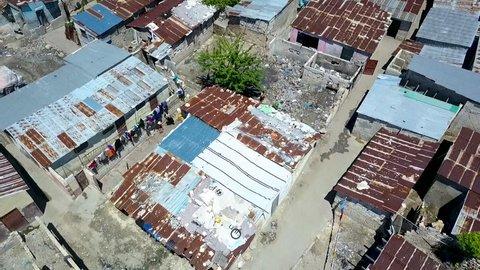 Slum in Port au Prince in Haiti aerial