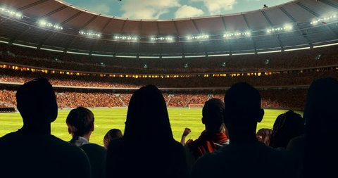 Fans celebrating the success of their favorite sports team, a man is standing with raised hands on the stands of the professional stadium. Stadium is made in 3D and animated.