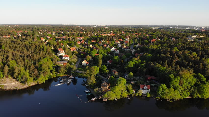 """Aerial view of the residential area """"Appelviken"""" in Stockholm, Sweden on a summer's morning."""