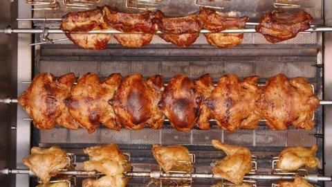 Rotisserie Chicken grill. Professionally roasted chicken.
