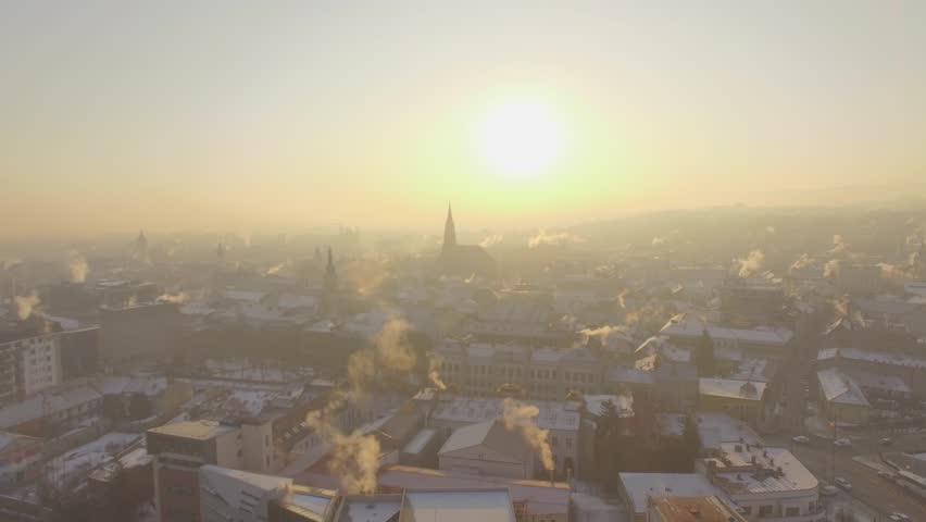 Aerial view of Cluj - Napoca, cold winter days | Shutterstock HD Video #1011956612