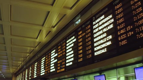 NEW YORK CITY, NEW YORK - OCTOBER 7: Departure board at Penn Station in New York City, New York on October 7, 2017.