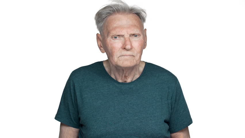 Portrait of unhealthy adult man 80s having gray hair in basic t-shirt suffering from toothache and touching cheek slow motion, isolated over white background | Shutterstock HD Video #1011987782