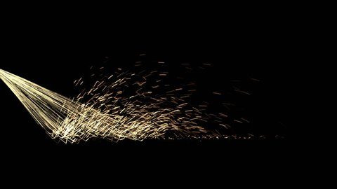 Animated bursting and bouncing realistic sparks as if cutting or grinding metal. With motion blur and against transparent background, alpha channel embedded with PNG file.