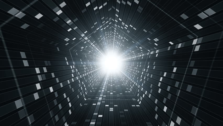 Technological background with animation of flying into digital tunnel from flickering particles, dots or digits of binary code. Animation of seamless loop.   Shutterstock HD Video #1012011842