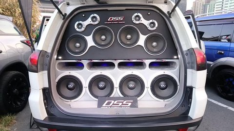 PASIG, PH - MAY 13: David's Street Sound car speakers and blinking LED lights on May 13, 2018 in Pasig, Philippines. Hot Import Nights is an auto show featuring compact and tuner import cars.