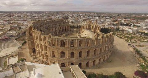 Aerial view of ruins of the biggest coliseum El Jem. Tunisia.