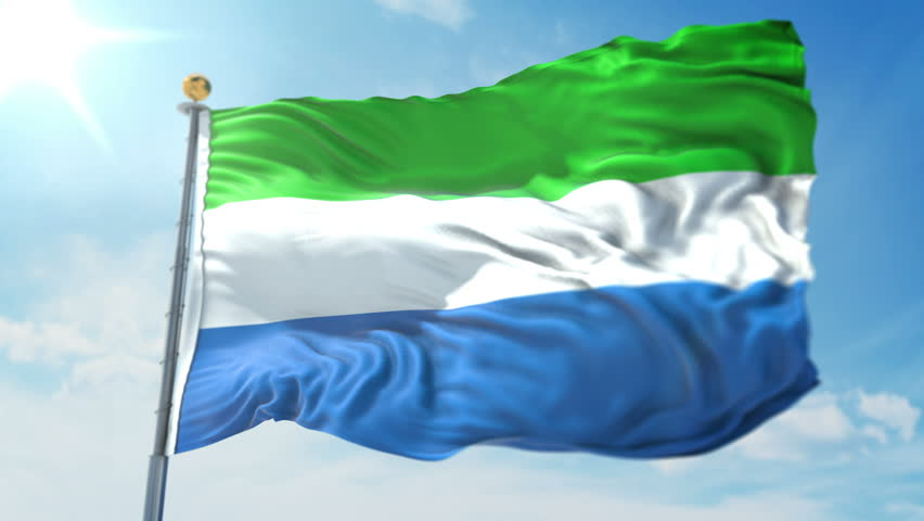 Sierra Leone flag seamless looping 3D rendering video. 3in1:Includes isolated on green screen and alpha channel as luma matte for easy clipping in AE. Beautiful textile cloth fabric loop waving