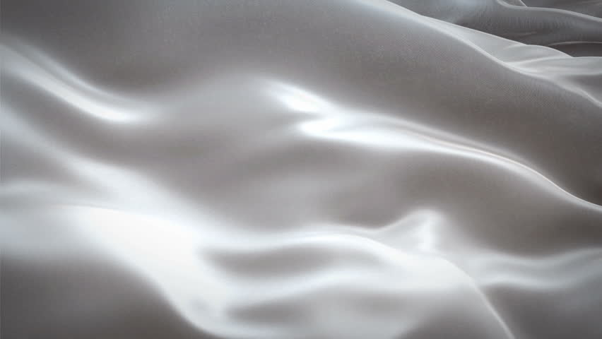 Silver grey white color fabric cloth textile waving background seamless looping 3D rendering