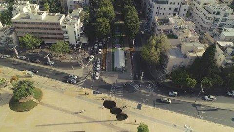 Aeria view on Rothschild b. and Habima square in Tel Aviv 4k