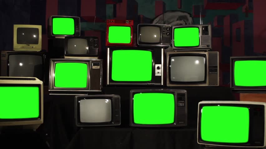 """Retro TVs Green Screen. TV Wall Multi-screen. Zoom Out. You can Replace Green Screen with the Footage or Picture you Want with """"Keying"""" effect in After Effects (check out tutorials on YouTube).  