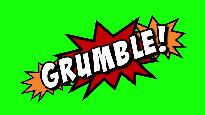 A comic strip speech cartoon animation with an explosion shape. Words: Crumble, Grumble, Crackle, Shuffle. White text, red and yellow spikes, green background.