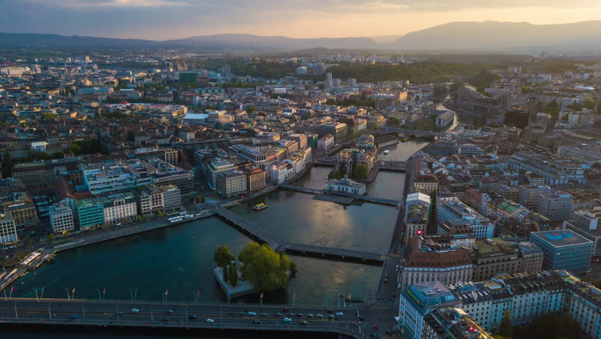 Sunset sky geneva lake cityscape aerial panorama 4k timelapse switzerland