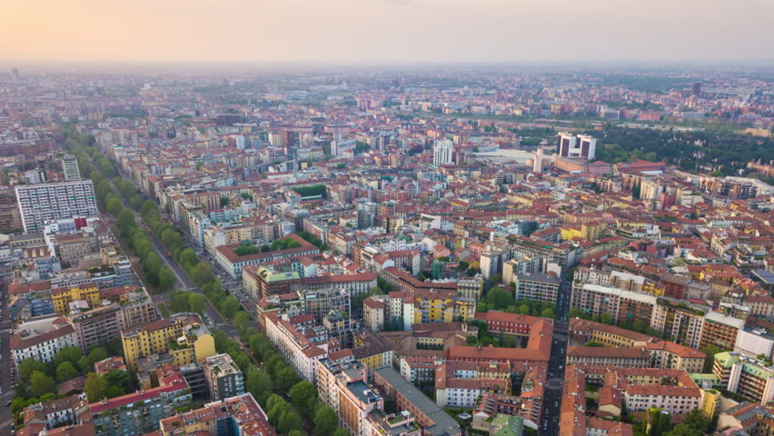 Sunset evening milan city aerial panorama 4k timelapse italy | Shutterstock HD Video #1012081412