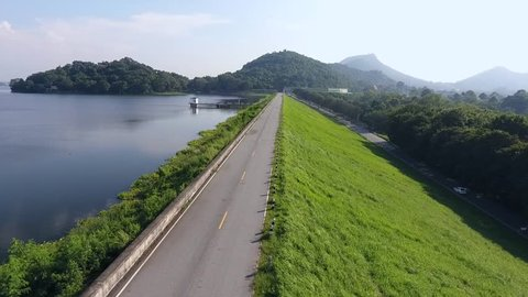Aerial shot of empty road on reservoir Pattaya , Thailand