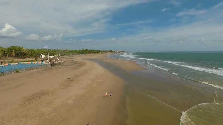 Aerial view of Seminyak beach in Bali, Indonesia