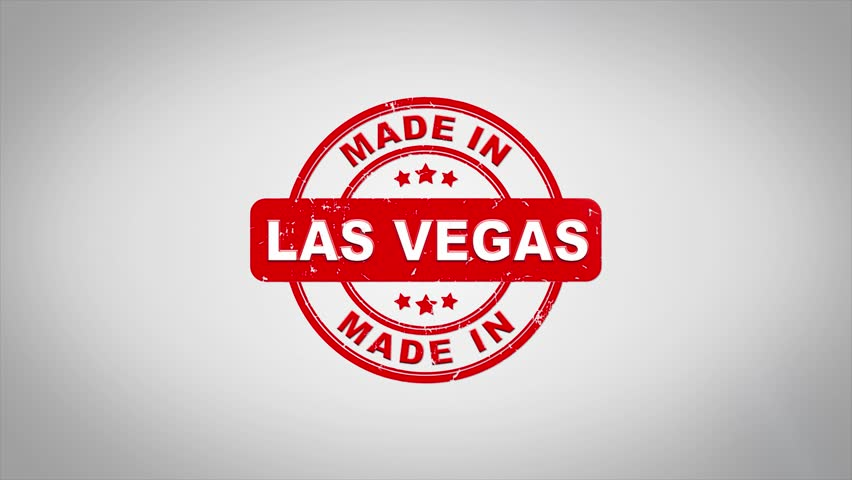 Made In LAS VEGAS  Signed Stamping Text Wooden Stamp Animation. Red Ink on Clean White Paper Surface Background with Green matte Background Included. | Shutterstock HD Video #1012126442