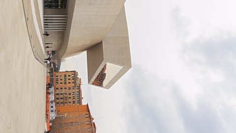Vertical video. National Museum of the XXI century (MAXXI). Rome, Italy. Time Lapse - February 21, 2015: is a national museum of contemporary art and architecture