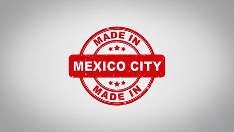 Made In MEXICO CITY  Signed Stamping Text Wooden Stamp Animation. Red Ink on Clean White Paper Surface Background with Green matte Background Included.