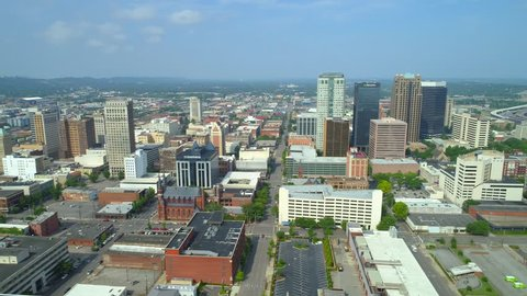 Aerial drone footage Downtown district Birmingham Alabama lateral footage 4k