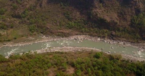 Aerial view of Kali Gandaki river near Kusma in Nepal