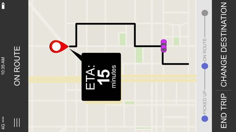 A simulated driver arriving ride sharing app ETA map screen for a cellular phone. Orientation is created vertical for placement on a typical 1080x1920 smartphone screen in portrait mode.