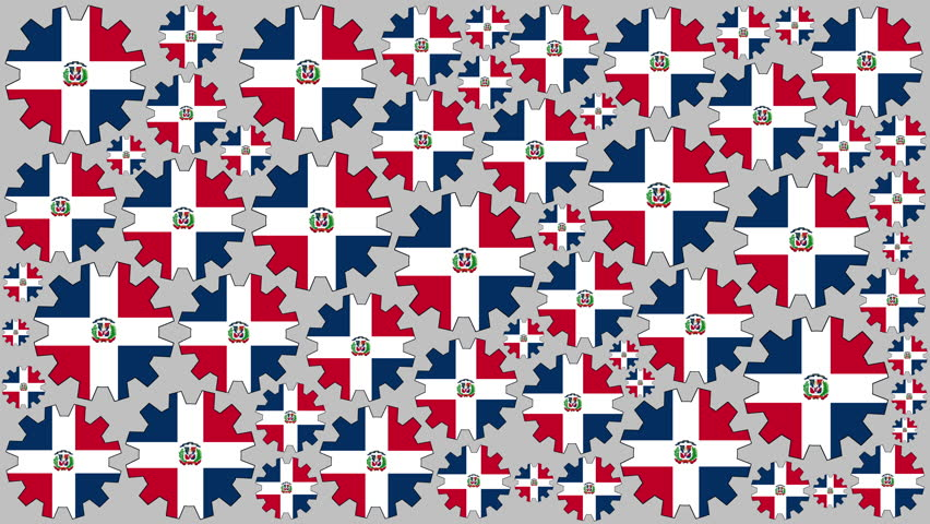 Dominican republic flag gears rotating background