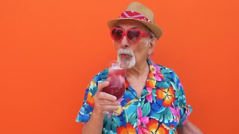 Grandfather funny moments on colored backgrounds