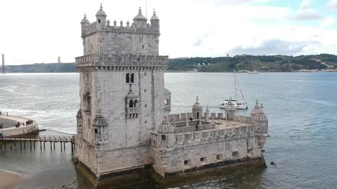 Aerial shot of the Belem Tower in Lisbon