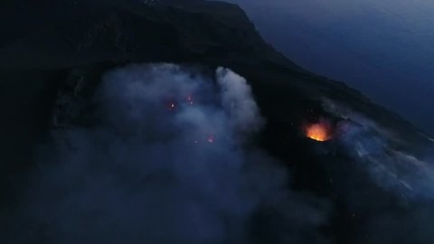 Volcanic eruption captured by drone Stromboli, Italy