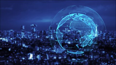 Smart city and global communication network concept. IoT (Internet of Things). ICT (Information Communication Technology).