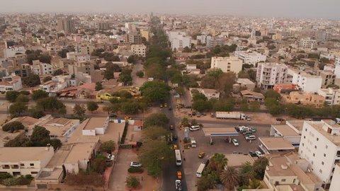 Aerial of African city of Dakar, Senegal.
