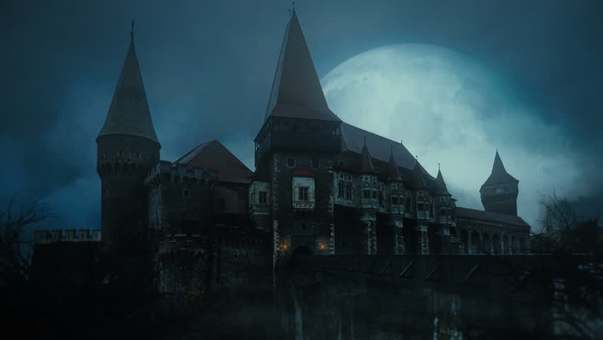 Old Medieval Castle At Night Stock Footage Video 100 Royalty Free