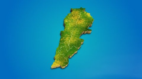 Lebanon country map satellite camera zoom in sky effect shot visualization