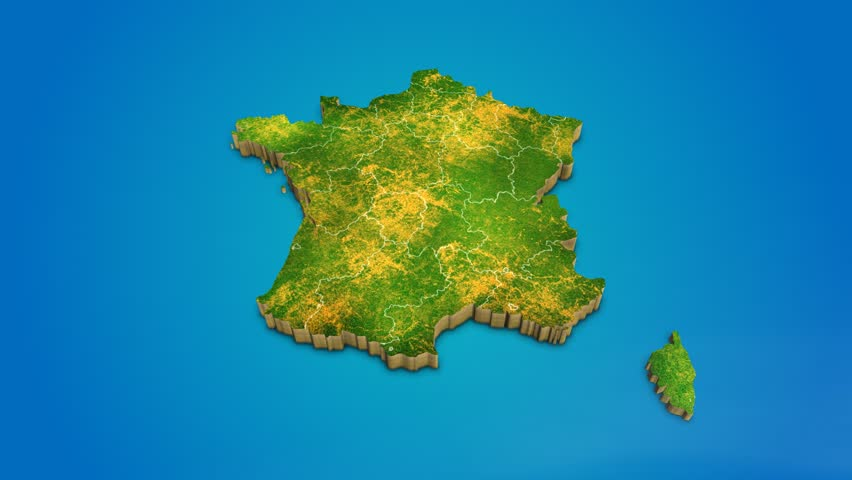 Country Map Of France.France Country Map Satellite Camera Stock Footage Video 100