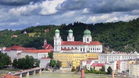 "4K of Passau, Germany, from the South. Passau is also known as the ""City of Three Rivers,"" because the Danube is joined here by the Inn and the Ilz"