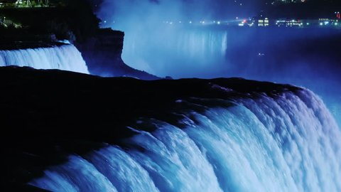Niagara Falls with night illumination. Beautiful evening scene