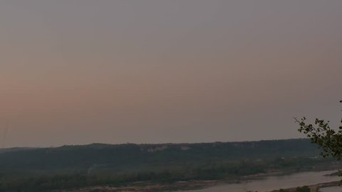 Pha Taem National Park before Sunrise , Pan View from Right to Leaf