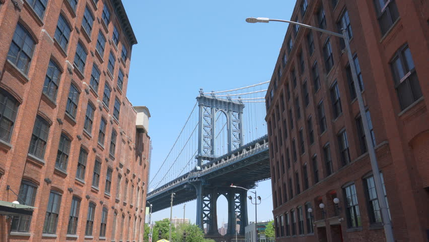 4k moving shot of Manhattan Bridge from Dumbo Brooklyn | Shutterstock HD Video #1012374842